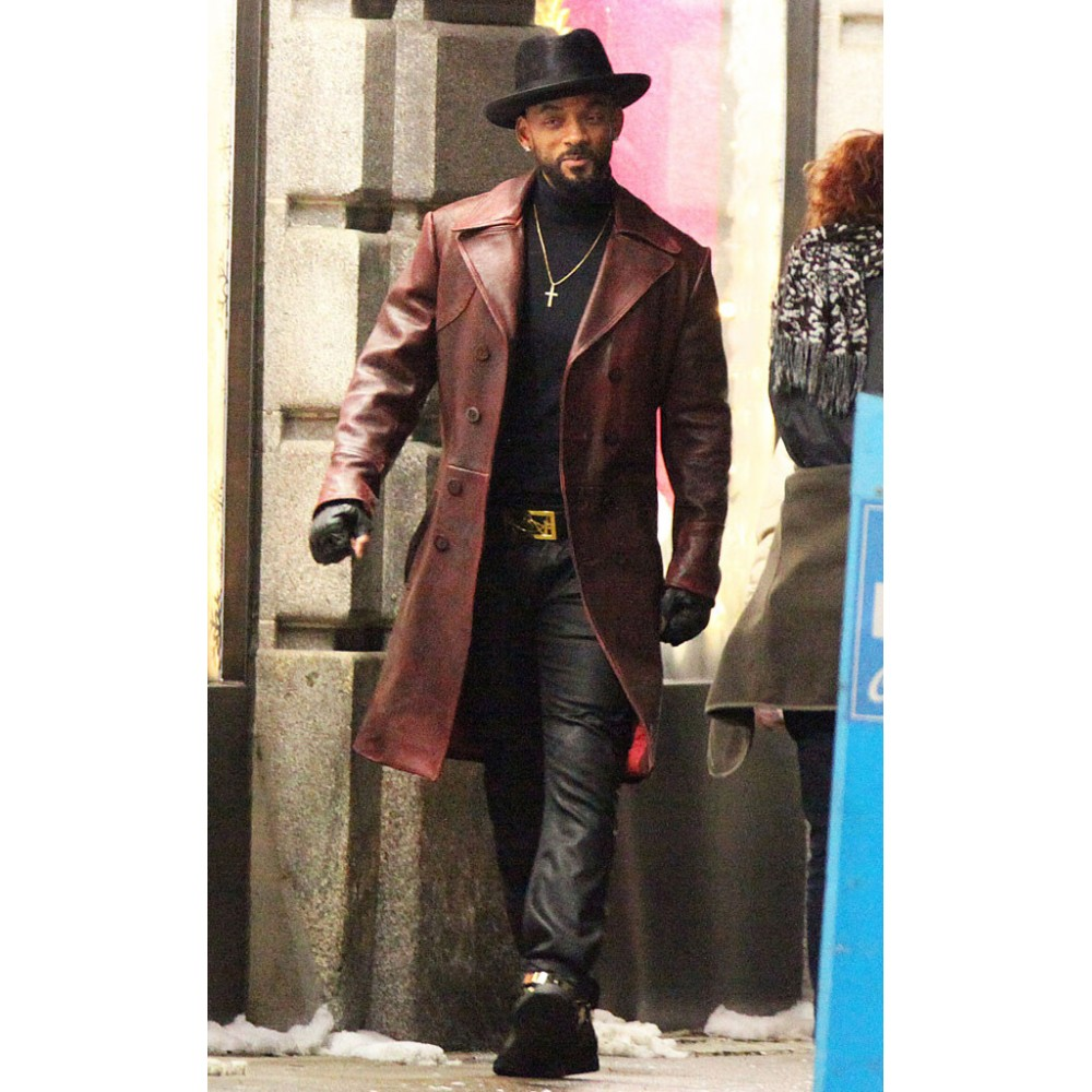 Will Smith (Suicide Squad) Brown Leather Long Coat | Celebrity Brown Coats