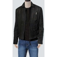 Black Bomber Leather Jacket With Stylish Sleeves | Black Leather Jackets