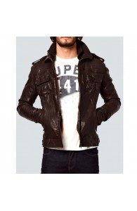 Body Fit Brown Slim fit Genuine Leather Jacket | Dark Brown Jacket