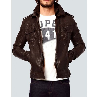 Body Fit Brown Slim fit Genuine Leather Jacket