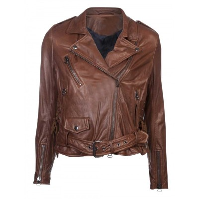 Emma Watson Slim Fit Brown Leather Jacket | Women Dark Brown Jackets