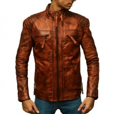 Men's Black Distressed Leather Jackets