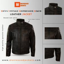 Distressed Black Leather Biker Jacket
