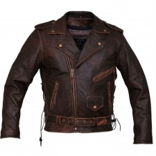 Guess Men's Leather Distressed Shirt Jackets