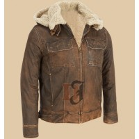 Dark Brown Contrast Faux Fur Hooded Leather Jacket | Dark Brown Jackets