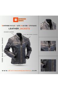 Motorcycle Cafe Racer Vintage Distressed Jacket | Black Distressed Jackets