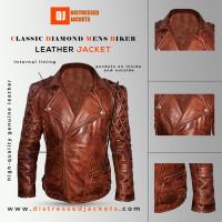 Classic Diamond Mens Biker Dark Brown Jacket   Distressed jackets