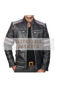 Retro Cafe Racer Classic Motorcycle Jacket | Double Stripe Black Leather Jacket