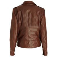 Emma Watson Slim Fit Brown Leather Jacket | Women Dark Brown Jackets