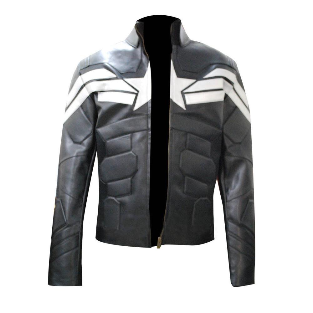 Captain America Winter Soldier Men's Leather Jacket | Black jacket