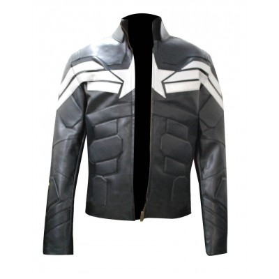 Captain America Winter Soldier Men's Leather Jacket | Black jacket