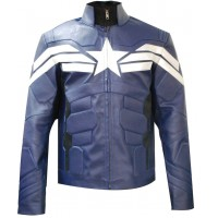 Captain America Winter Soldier Men's Leather Jacket | Blue Jacket