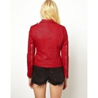 BLOOD RED LEATHER JACKET FOR WOMEN FOR VALINTINE