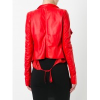Tie back biker jacket For womens | Women Red Jacket
