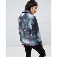 Womens Leather Jacket with Spray Print | Women Paint Jackets