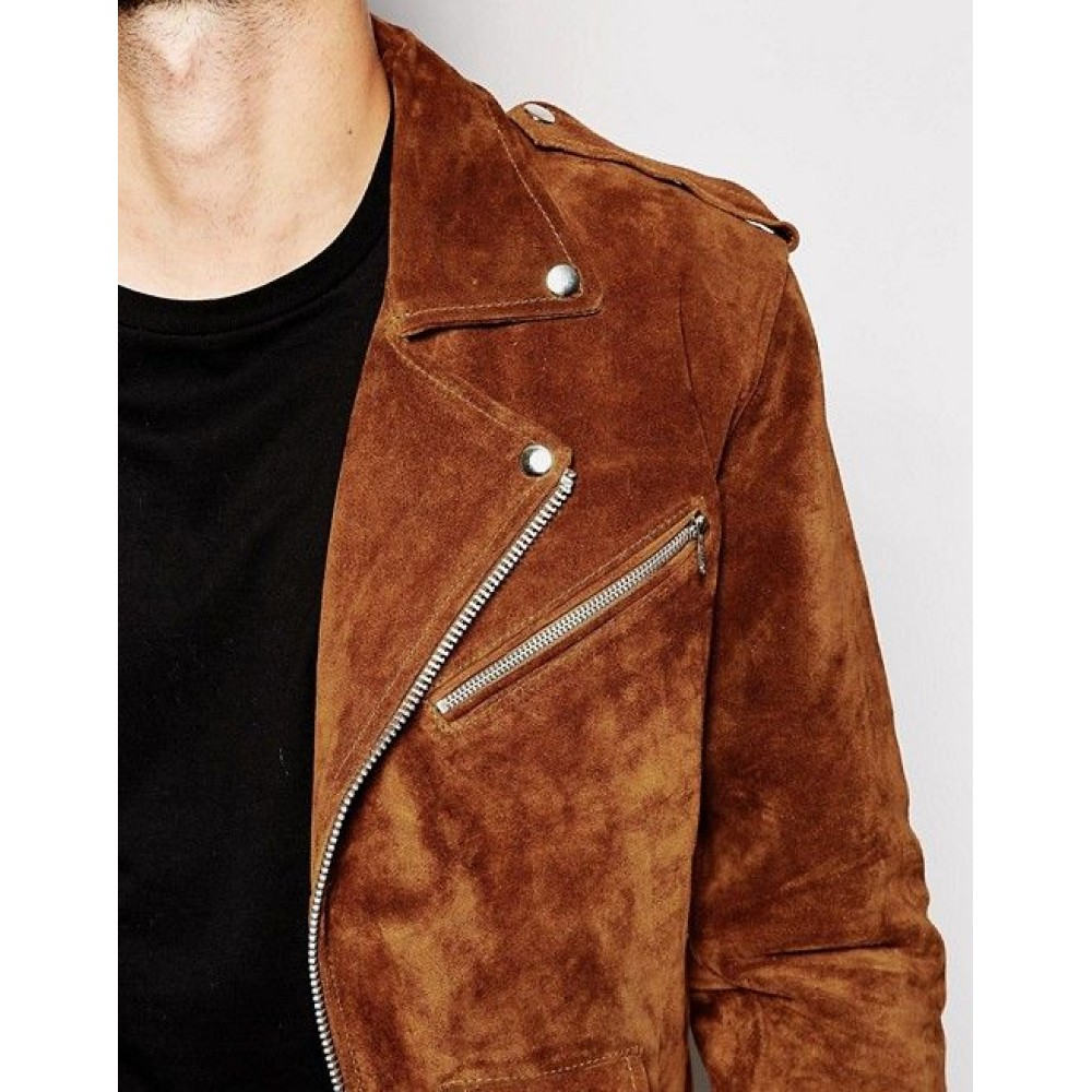 Suede Biker Jacket In Brown With Fringing For Mens For Sale