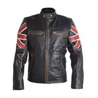 Men's Fashion Cafe Bike Racer  Jacket | UK Flag Leather Jacket