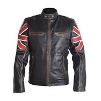 Men's Fashion Cafe Bike Racer  Jacket | UK Flag Leather Jacket