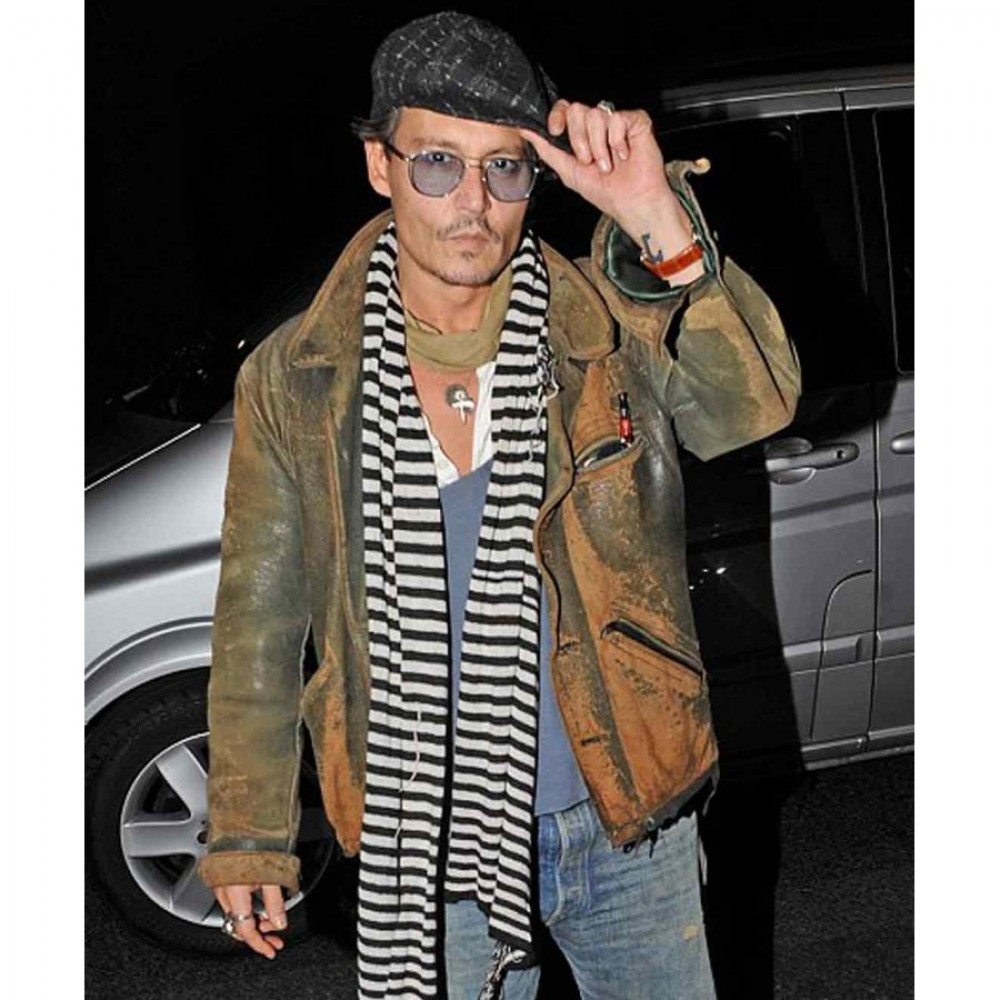 Johnny Depp Green Distressed leather Jacket  | Distressed Jacket