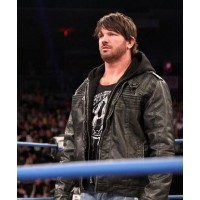 AJ Style WWE Leather Jacket | Mens Black WWE Leather jacket