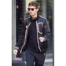 BABY DRIVER MOVIE ANSEL ELGORT LEATHER JACKET FOR MENS FOR SALE