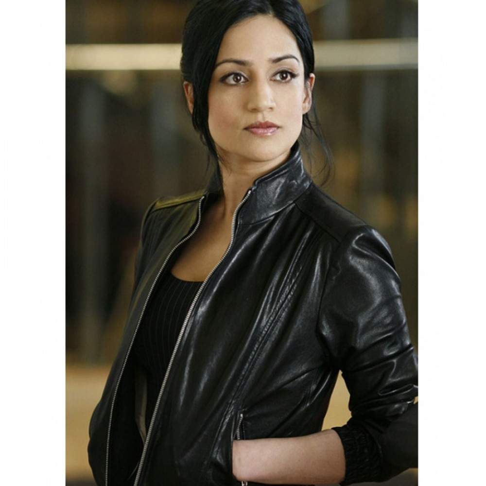 Archie Panjabi The Good Wife Kalinda Sharma Black Leather Jacket For sale