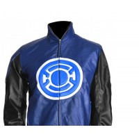 Allen Blackest Night Blue Lantern Leather Jacket For Sale | Hot Sale