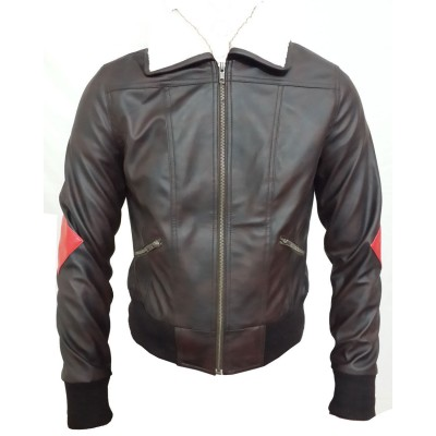 Suicide Squad Bombshell Fuax Fur Leather Jacket | Mens Leather Bomber Leather Jacket
