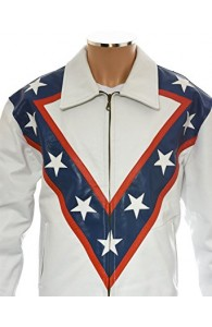 Evel Knievel Tribute White Leather Jacket | Movies White jackets