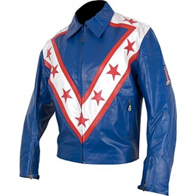 Evel Knievel Tribute Blue Leather Jacket | Blue Leather jackets