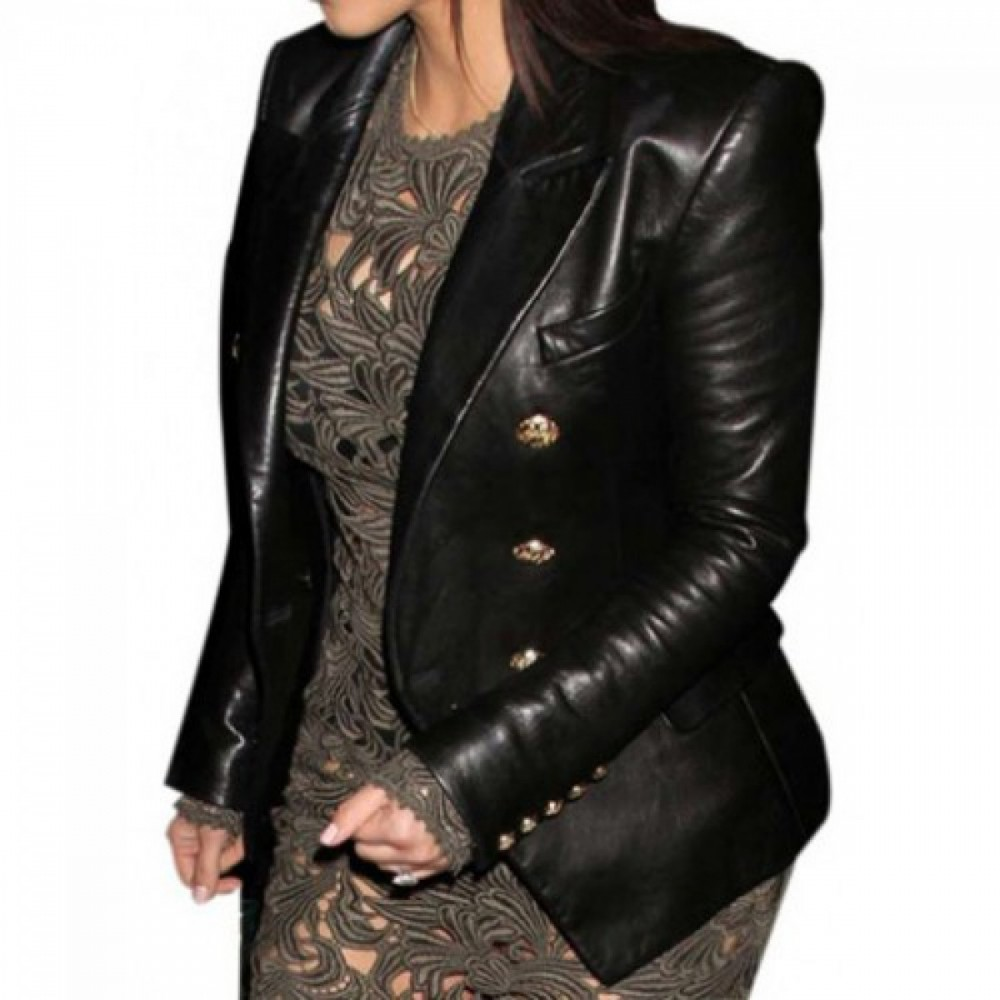 Kim Kardashian Golden Button Black Coat | Women Black jackets