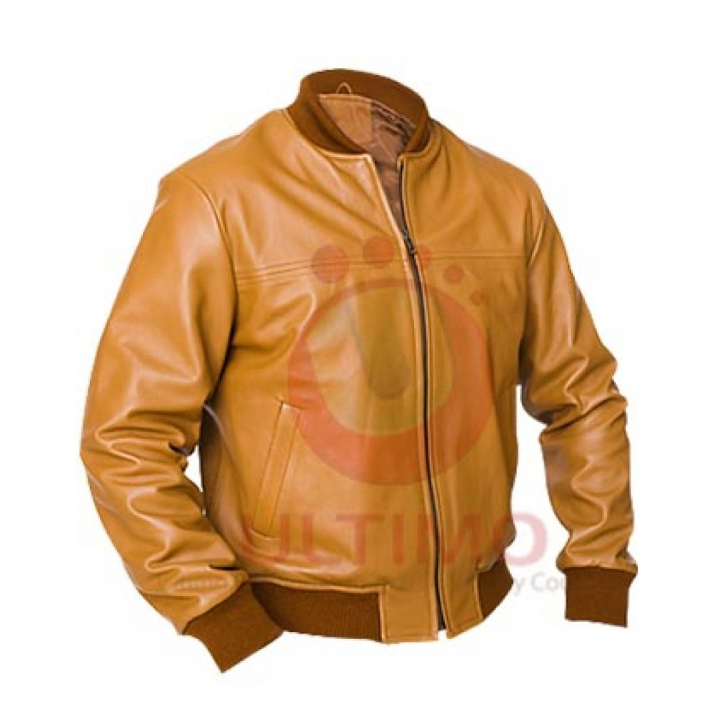 SAFARI BOMBER BROWN TAN LEATHER JACKET | Distressed jackets