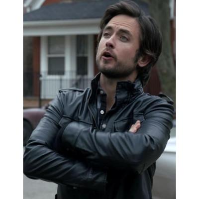 Tv Series Shameless Justin Chatwin (Steve) Black Leather Jacket | Mens Leather Jacket