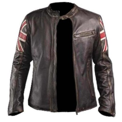 UK Flag Cafe Racer Brown Mens Leather jacket | Distressed Jacket