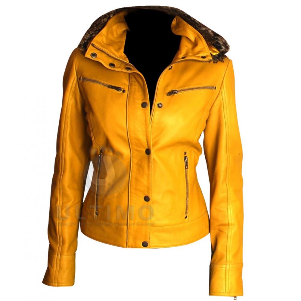 WOMEN'S YELLOW HOODED FOR BIKER Jacket   Women Stylish Jacket