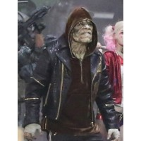 Adewale Killer Croc Squad Suicide Dragon Black Leather Jacket