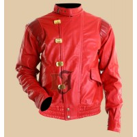 Akira Kaneda Pill Red & Black Motorcycle Leather Jacket | Red Biker Jackets