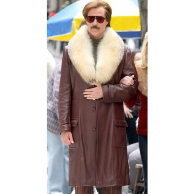 Anchorman 2 The Legend Continues Ron Burgundy Leather Jacket For mens for sale | New Arrival