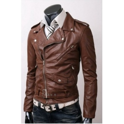 BELTED RIDER SLIM FIT LEATHER JACKET | Dark brown jacket