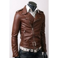 BELTED RIDER SLIM FIT LEATHER JACKET | Dark brown jacket