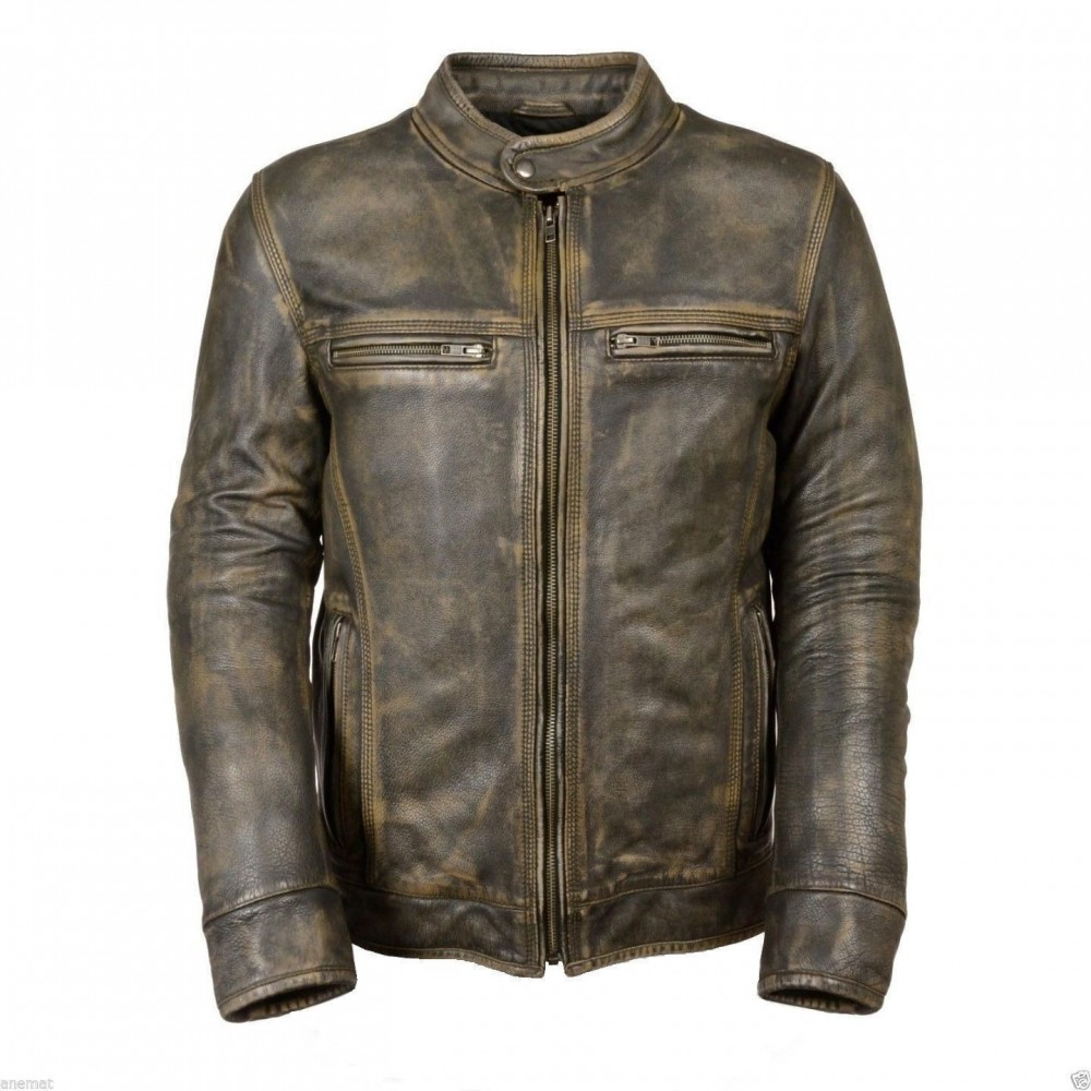 Biker Cafe Racer Vintage Style Leather jacket for sale