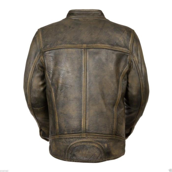 Biker Cafe Racer Vintage Style Leather Jacket