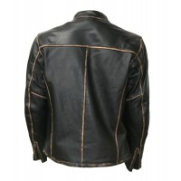 Biker Motorcycle Faded Seams Vintage Leather Jackets For sale