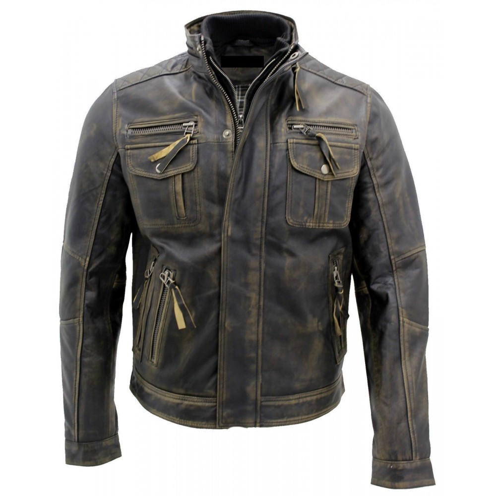 ed5afffc33 Buy Biker Style Motorcycle Cafe Racer Distressed Leather Jacket In ...