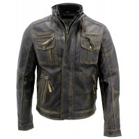 Biker Style Motorcycle Jacket | Distressed Leather Jacket
