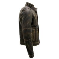 Biker Style Motorcycle Jacket | Distressed Leather Jacket