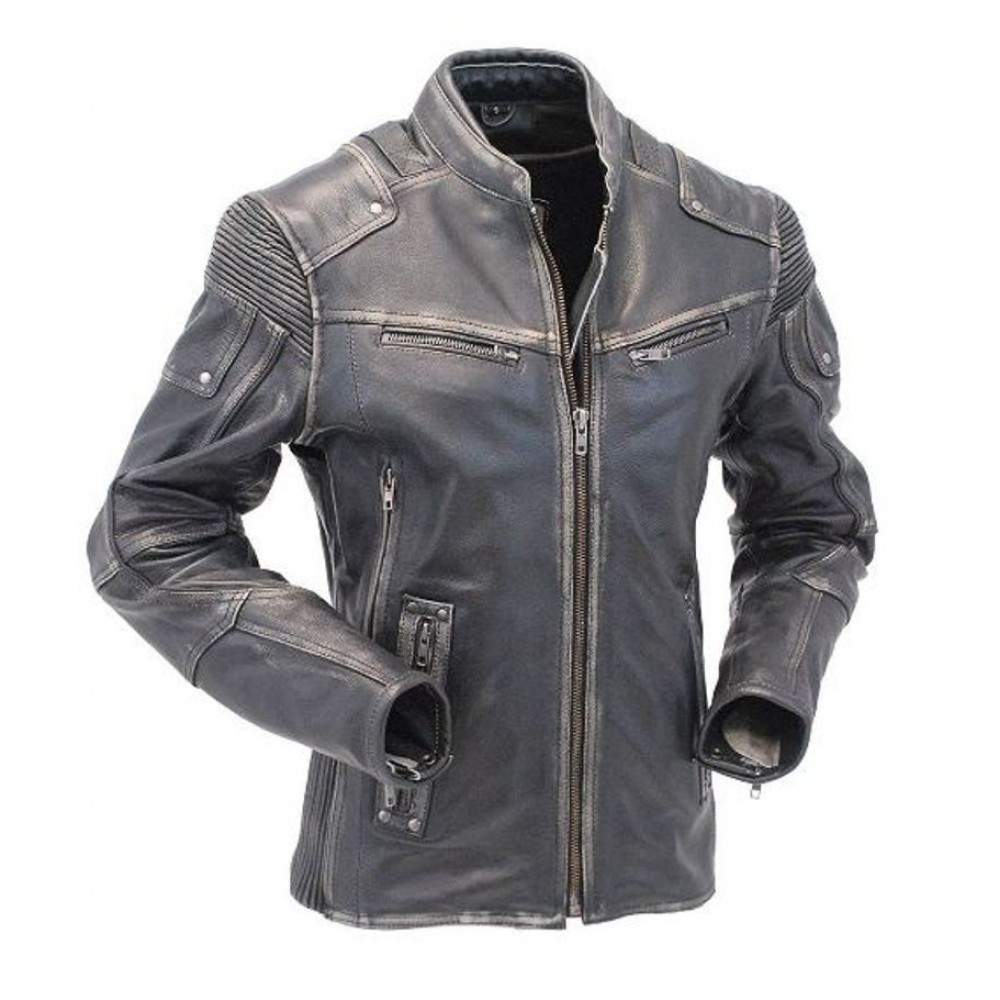 b93c5f72f3ea Buy Motorcycle Cafe Racer Vintage Distressed Leather Jacket