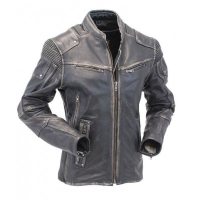 Motorcycle Cafe Racer Vintage Distressed Jacket | Black Distressed Jackets