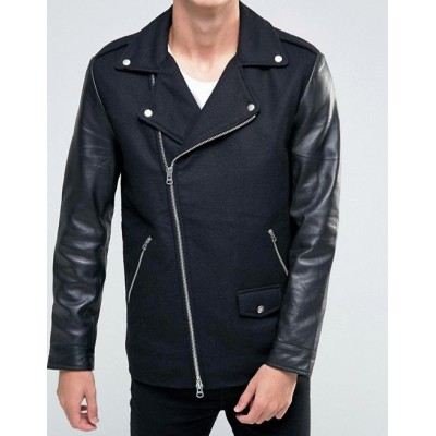Black Dust Biker Leather Jacket Sleeves