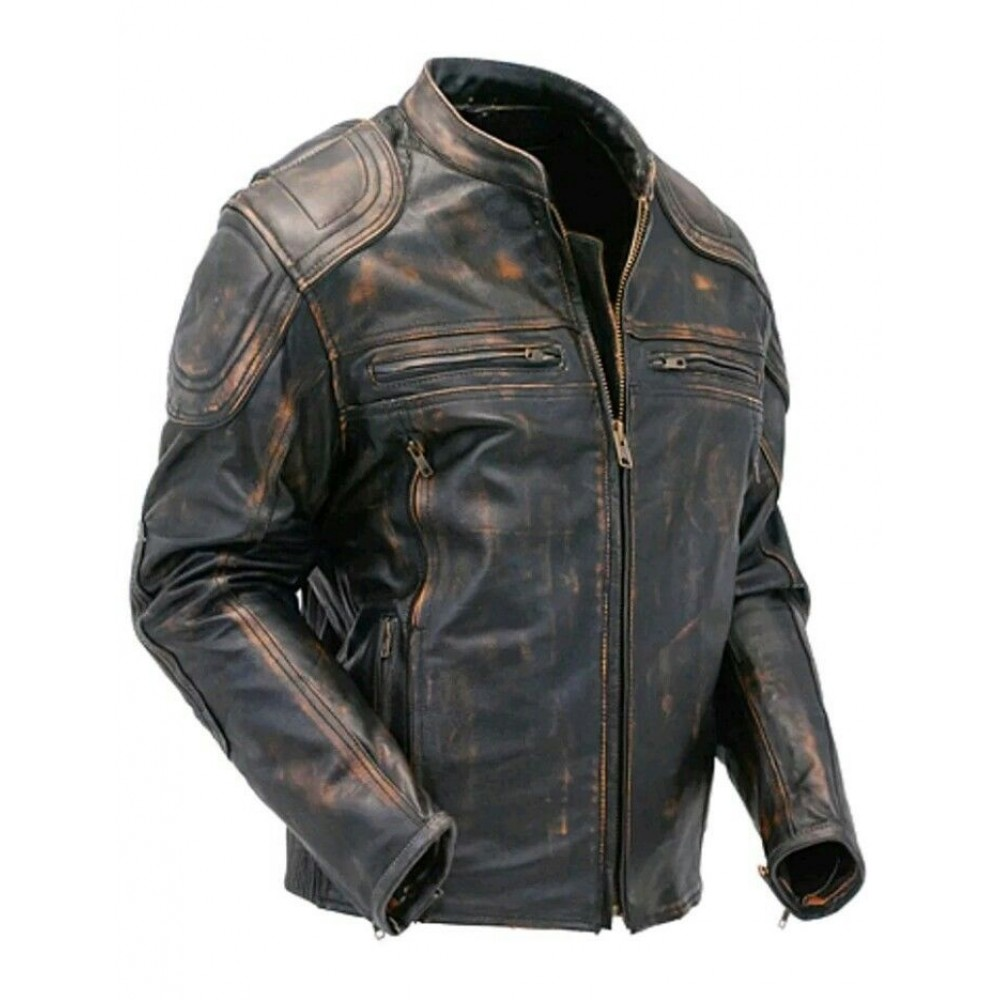 San Antonio Motorcycle >> Buy Cafe Racer Quilted Distressed Brown Motorcycle Leather jacket In New York, Los Angeles ...